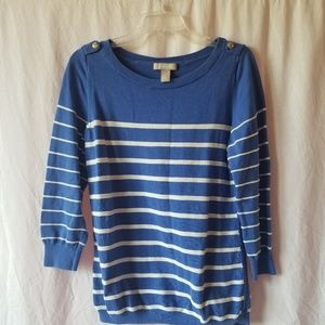 Banana republic 3/4 sleeve blue/white striped top